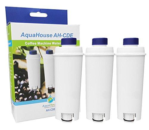 3x AH-CDE Filtre compatible pour le filtre à eau DeLonghi DLSC002, SER3017, 5513292811, convient aux machines à café expresso et à expresso Delonghi