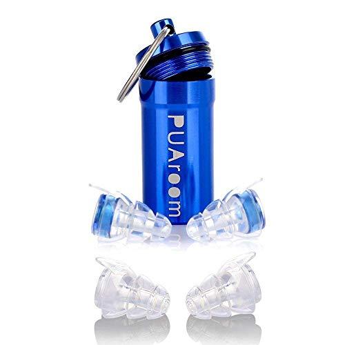 PUAroom DrumPro Ohrschutz Ohrstöpsel, 2 Paar Wiederverwendbare Soft Silikon Ohrstöpsel mit freiem Aluminium Container, ideal für Musiker, Konzert, Festival, Nachtclub, Schlagzeuger(Blau)