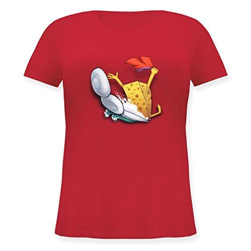 Comic Shirts - Spülschwamm - Wasserrutsche - L (48) - Rot - JHK601 - Lockeres Damen-Shirt in großen Größen mit Rundhalsausschnitt