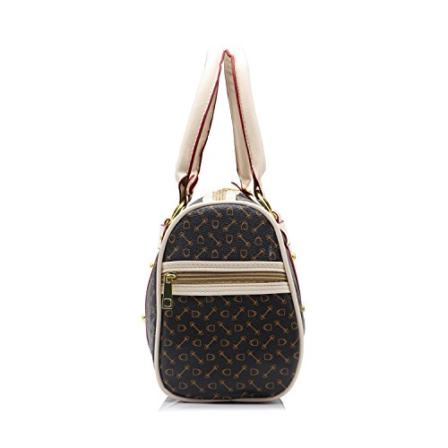 ZENTEII Borsa Boston A Barilotto Da Donna In Pelle Marrone