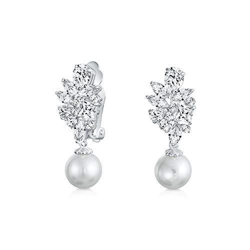 Braut Zirkonia Blattblöcke AAA CZ Weiß Simulierten Perle Drop Ball Ohrclips Ohrringe Für Damen Nicht Durchbohrt Ohr