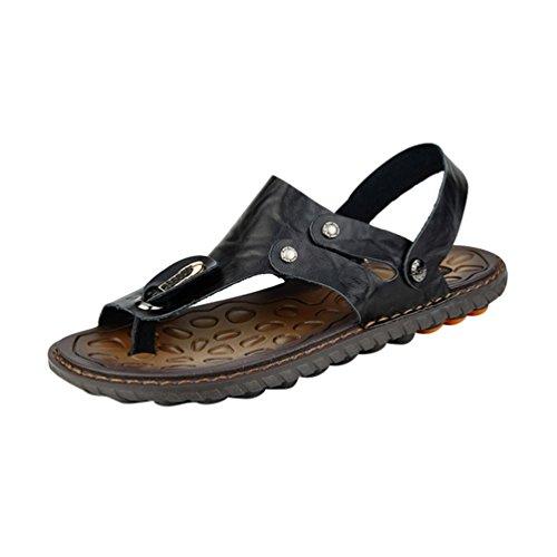 Yiiquan uomo infradito sandali sportivi scarpe da spiaggia uomo sandali a punta aperta spiaggia di vacanza pantofole estive sandali da surf ciabatte nero 38