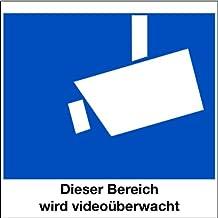LEMAX® Aufkleber Dieser Bereich wird videoüberwacht, Symbol gemäß DIN 33450, Folie innenklebend für Glasscheiben 80x80mm (Videoüberwachung, Überwachungskamera) praxisbewährt, wetterfest