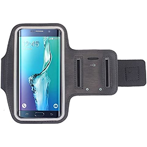 Tongshi Cubierta de la caja del brazal Deportes brazalete del gimnasio para Samsung Galaxy S6 Edge + Plus (negro)