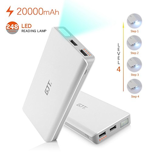 GJT® 20000mAh Power Bank 4 LED Light Backup External Battery Portable Charger Dual USB Port for Apple iPhone 6, 6 Plus 5S 5C 5 4S 4, Retina iPad Air Mini 2, HTC One, One 2 (M8), Samsung Galaxy S6 S6 edgeS5 S4 S3, Tab 4 3 2 Pro, Nexus 10 , MOTO X G Droid,PS Vita,Motorola Razr;LG and more Smartphones & Tablets(White)  available at amazon for Rs.4924