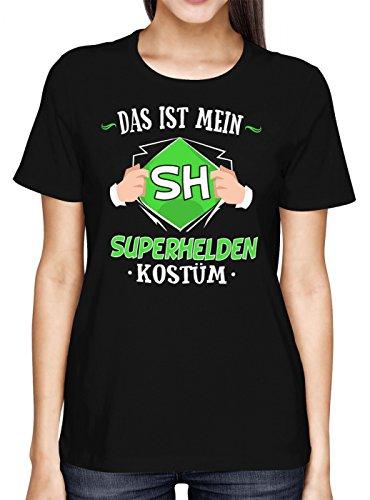 (Kostüm Superheld Premium T-Shirt   Verkleidung   Karneval   Fasching   Frauen   Shirt, Farbe:Schwarz (Deep Black L191);Größe:M)