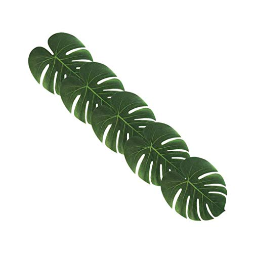 Kineca 12st Artificial Tropical Palm Monstera Blätter Simulation Blatt Hawaiian Luau Strand-Thema-Partei-Dschungel-Dekoration