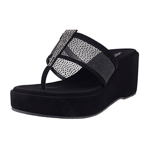 Metro Women's Black Synthetic Sandals (35-1593-11-40)-7 UK