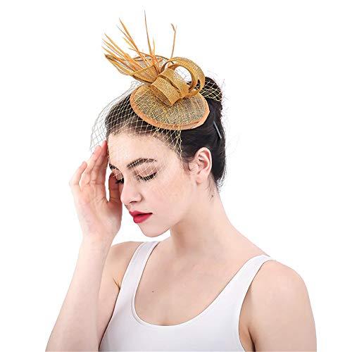 Kanqingqing Partyhochzeitshut der Frauen, Kentucky Derby-Hut mit Clip-Stirnband-Blumen-Ineinander greifen-Fascinator-Hut für Teeparty Blumenhochzeitskopfschmuck der Frauen