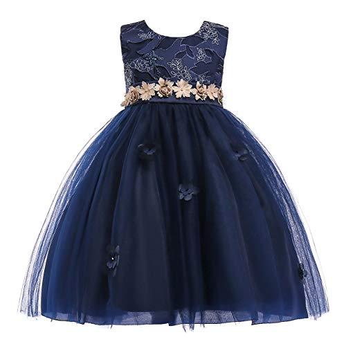 FStory&Winyee Mädchen Kostüm Kleid Festlich Hochzeit Party Kleid Ärmellos Brautjungfern Blumenmädchenkleider Kinder Prinzessin Tutu Abendkleid für Weihnachten Taufe Tanzen (Belle Kostüm Blau)
