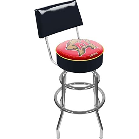 NCAA University of Maine Padded Swivel Bar Stool with Back by Trademark Gameroom