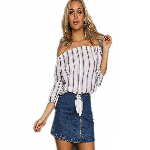 Byjia Manches Longues T-Shirt Loose Décontractée Stripe Cou Horizontal Club