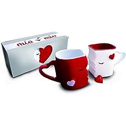 MIA ♥ Mio - Tazas de Café/Tazas de Besos Set / Regalo para Novios - Ceramica (Rojo)