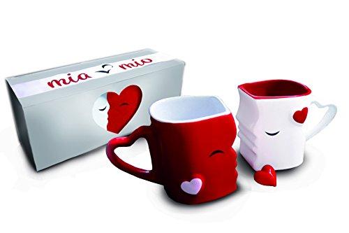 Mia Mio - Kaffeetassen/Küssende Tassen Geschenk Set zum Valentinstag für/Freund/Freundin aus Keramik (Rot)