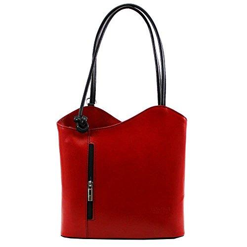 Hautefordiva , Damen Schultertasche burgunderfarben Large rot / schwarz