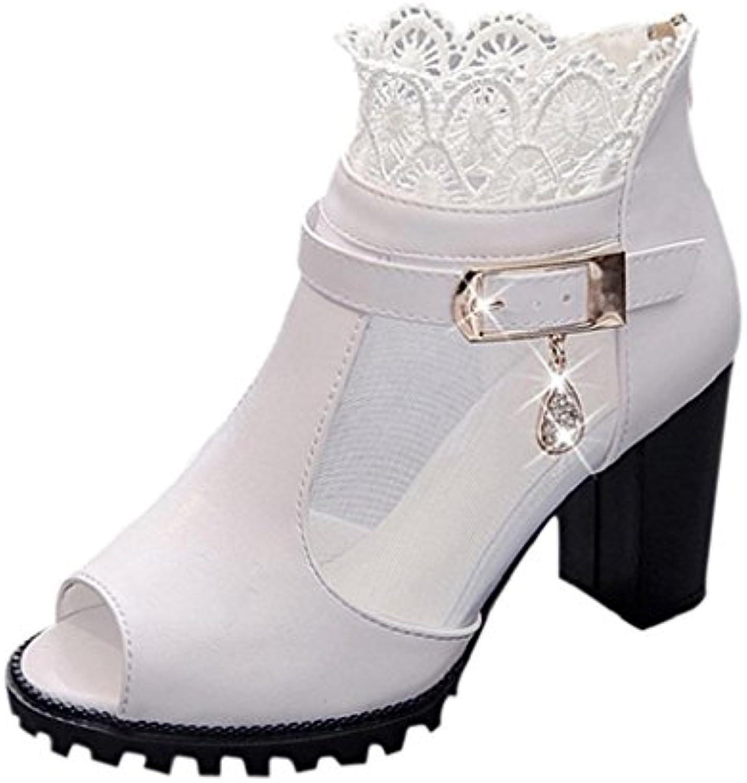 Sallydream Las Mujeres de Moda de Verano de TacóN Alto de Encaje Sandalias de TacóN Alto Mocasines Zapatos Bohemia