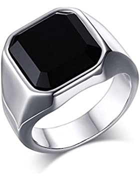 Heyrock Men's Ring Black High Polished Stainless Steel Male Silver Color Charm Band Jewelry