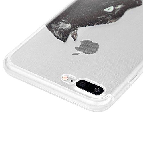 MAXFE.CO TPU Silikon Hülle für iPhone 7 Plus (5,5 Zoll) Handyhülle Schale Etui Protective Case Cover Rück mit Schwarze Katze-Kopf Skin Aquarell Design Schwarze Katze-Kopf