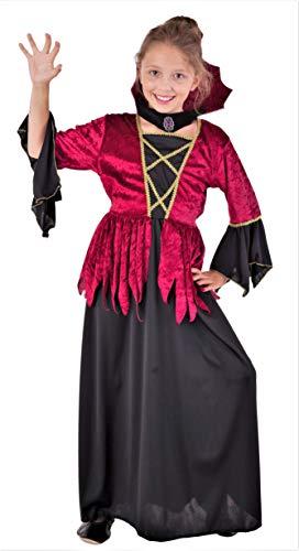 Magicoo - Disfraz de Vampiro gótico para niñas, para Halloween, Color Rojo y Negro