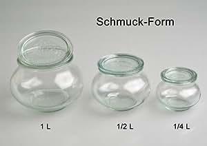 4 x weckglas dekoglas schmuck form 1 liter inkl deckel for Deckel weckglas