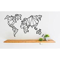 Wandtattoo geometrische Weltkarte Wandaufkleber, Sticker aus Vinyl, Abziehbild in drei Größen, schwarz, weiß, hellgrau, World Map