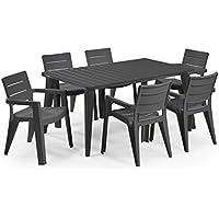 Keter - Set de mobiliario de jardín Lima/Ibiza (mesa + 6 sillas), color grafito