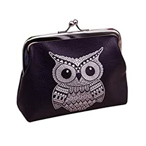 Omiky® Rectangle PU Leather Owl Printing White Wallet Card Holder Coin Purse Clutch Handbag (White Owl)