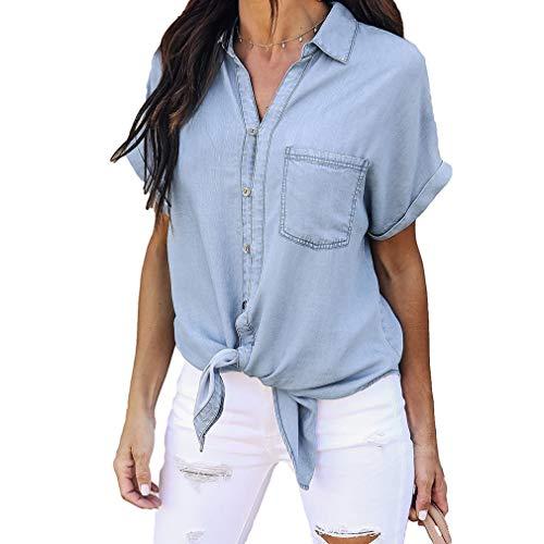 Yying Damen Bluse Damen Casual Vintage Jeanshemd Tops Blau Jean Button Kurzarm Bluse Jacke Hellblau L