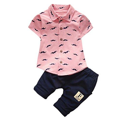 Baby Kleidung Jungen, FNKDOR Junge Neugeboren T-Shirt Bart Tops + Shorts Set (0-6 monate, Rosa)