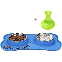 Himi Double Stainless Steel Dog Bowls with Silicone Mat - 12 oz - Pet Bowl with Free Gift Cute Shovel - Feeder Bowls - Food Water Bowls for Small Middle Lagre Dogs Cats and Pets(Blue)