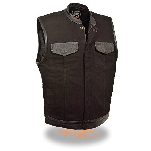 Herren SOA Leder getrimmte Denim Weste verdeckter Snap W/versteckter Reißverschluss W/1in Gun Tasche Herren Harley Davidson Leder Weste