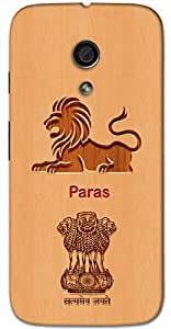 Aakrti Back cover With Lion and Govt. Logo Printed For Smart Phone Model : Sony Z5 Plus .Name Paras (A Mythical Stone ) Will be replaced with Your desired Name