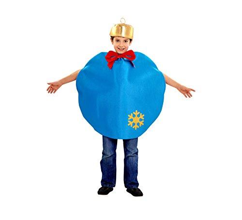 Imagen de disfraz de bola de navidad azul para niños en varias tallas