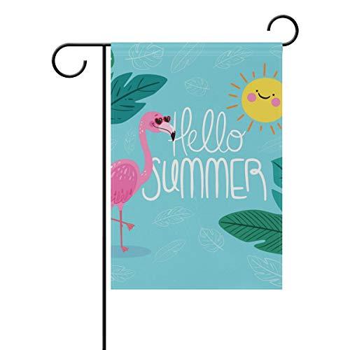 LINDATOP Gartenflagge Hello Summer mit lustigem Flamingo, 30,5 x 45,7 cm, doppelseitig, Hofdekoration, Polyester, Outddor Flagge, Home Party, Polyester, Multi, 12x18(in)