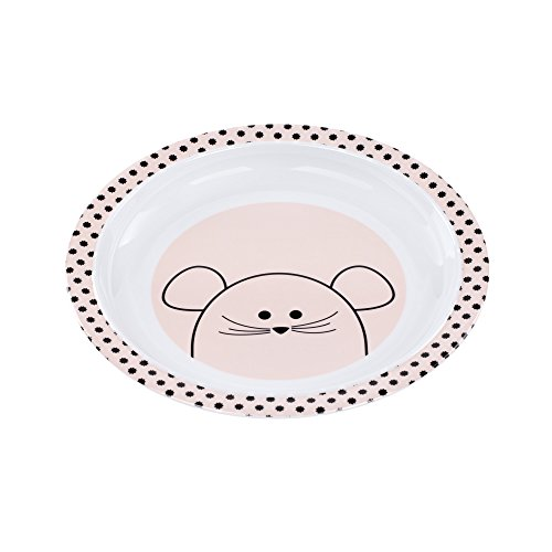 LÄSSIG Teller Kinder Baby Kleinkind rutschfest spülmaschinengeeignet Melamin/Plate Little Chums Mouse, rosa