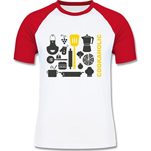 Küche - Cookaholic - zweifarbiges Baseballshirt für Männer Weiß/Rot