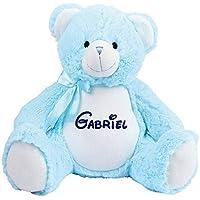 Peluche personnalisé, ourson bleu brodé, doudou ours personnalisé, cadeau naissance, doudou prénom, cache pyjama