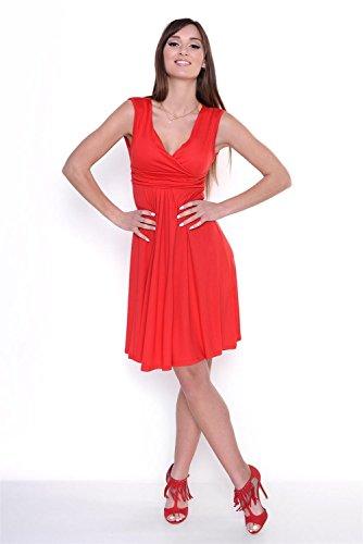 ... Amazinggirl Kleid A-Linie Klassisches Knielang mit Raffungen Elegant Rot