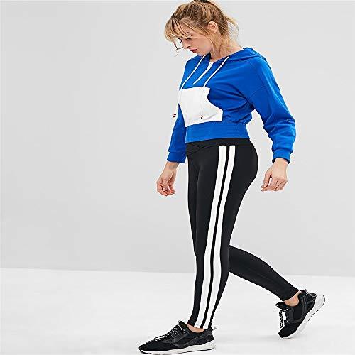 Schutzbein Autumn Fashion Womens Gym Outdoor-Sport Laufen Yoga Slim Mid Waist Gestreifte Hose Ladies Casual Drawstring Pants Für Outdoor-Aktivitäten (Color : Style 2) Womens Popper