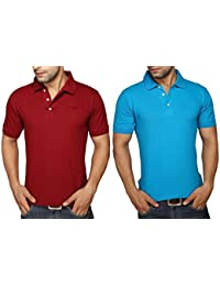 Clifton Men's Half Sleeve Polo T-Shirt Pack Of 2-Maroon-Dark Blue
