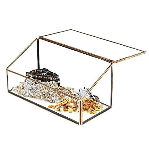 Dekorative klar Glas & Messing Ton Metall schräg Deckel Shadow Box Jewelry Brust/Storage Display Fall