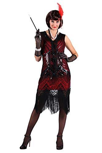 Charlston-Kostüm Damen mit Perlen Perlen-Kleid Elegantes Damenkostüm Silvesterkleid Tänzerin Showtanz Glamour 20er Jahre Karneval Fasching hochwertige Verkleidung Größe L Dunkelrot