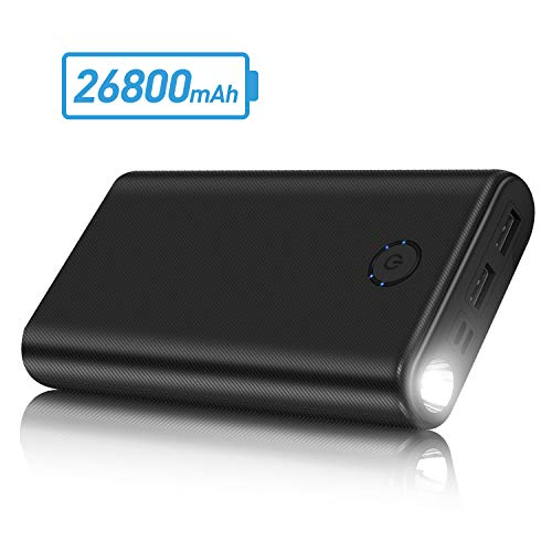 Powerbank caricabatterie portatile 26800mah batteria esterna portatile con 2 ingressi & 2 uscite e torcia super luminosa ultra compatta power bank compatto per iphone android mobile phone and tablets