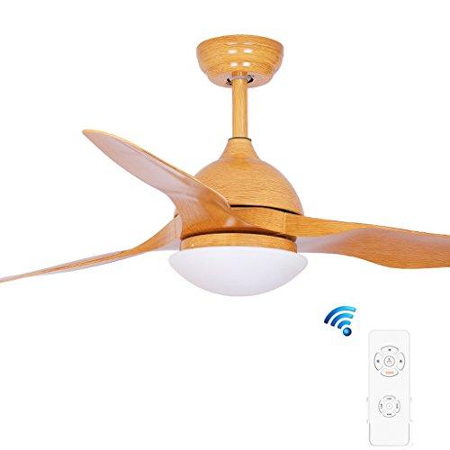 Deckenventilator Licht FJH Fan Licht Mode Einfache LED Qualitätssicherung Moderne Mode 52 Zoll, Fernbedienung (Farbe : Orange) - Mit Ruhiges Licht Bad-fan