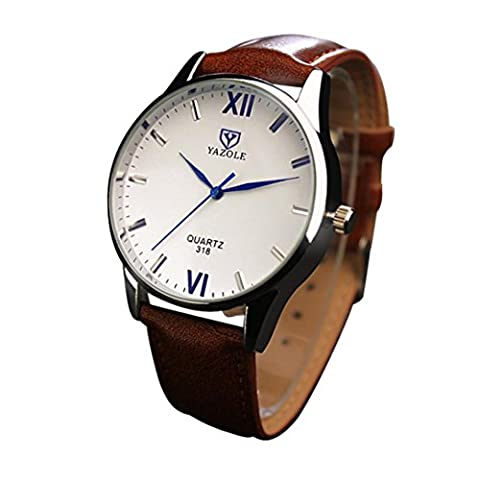 LHWY Luxury Fashion Leather Mens Glass Quartz Analog Wristwatch Noctilucent Watches (brown)
