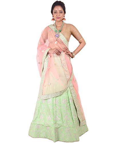 Indian Ethnicwear Bollywood Pakistani Wedding Light Green A-Line Lehenga Semi-stitched-DIVISL001