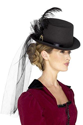 Smiffy's Smiffys-48413 Sombrero de Copa Victoriano para Mujeres Deluxe,con Plumas, Velo y Broche, Color Negro, No es Applicable 48413