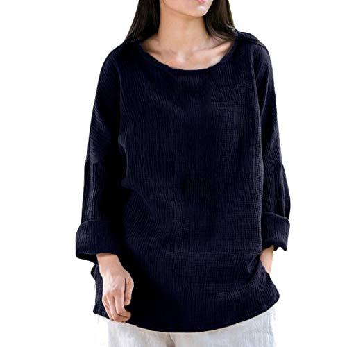 ESAILQ Damen Lose Langarm-Bluse Volltonfarbe Klassisches Hemd(S,Marine)