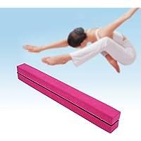 Viga de equilibrio de 2,2m, gamuza sintética, plegable; para entrenamiento de gimnasia en casa, rosa