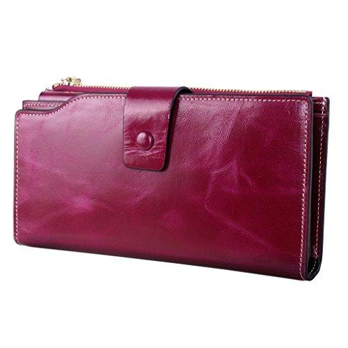 Yvonnelee Delle donne del cuoio genuino portafogli borsa esclusiva Long Bifold cassa Violet